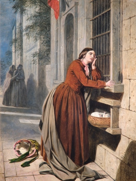 Henry Nelson ONeil, A Mother Depositing Her Child at the Foundling Hospital in Paris, 1855 (c) The Foundling Museum
